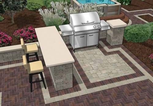 Love this layout, with the grill side attached/up against the side of the house and the bar facing the yard with chairs. Then lawn chairs in a circle around a fire pit nearby.