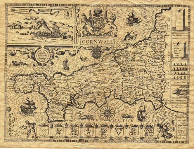 Cornwall England History | Historical Old Maps - Cornwall by John Speed - Cornwall History
