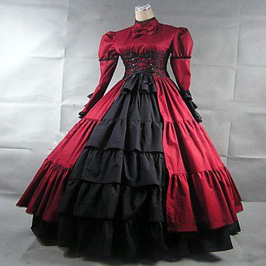 steampunk®wine rosso vestito gotico vittoriano lungo periodo abito da ballo vestito rievocazione del 2016 a €113.67