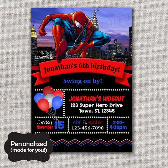 Spiderman Birthday invite,Spiderman invite,JPG file,Invite,Birthday Invite,Spidey Party,Spiderman,Spiderman party,DPP306
