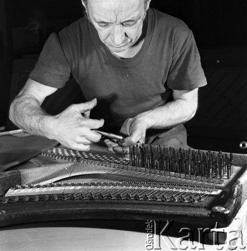 Styczeń 1971, Legnica, Polska Fabryka pianin, pracownik zakładający struny