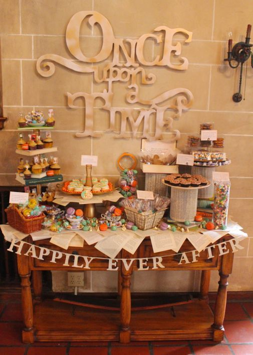 When you're creating a fairy tale book themed baby shower, creating a Once Upon a Time sign is a must! | via Project Denneler