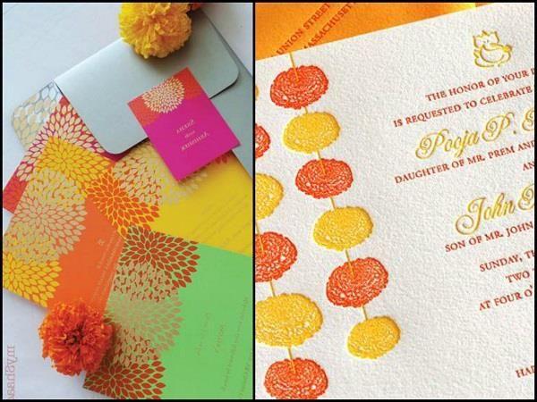Wedding Card With Marigolds. #Wedding #WomenTriangle www.womentriangle.com