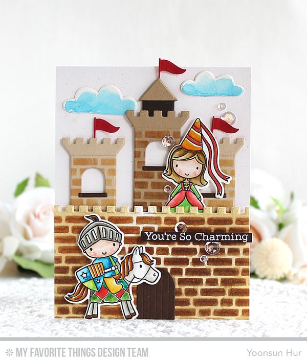 watercolour card- Knight in Shining Armor and Once upon a Time sets. I stamped knight and princess on watercolour paper using Black Licorice hybrid ink, coloured them with Distress markers, and then die cut them with the matching dies. For the castle, I die cut the pieces from colour card stocks using the Castle Die-namics, assembled them.