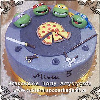 083, Tort z pizzą i żółwiami Ninja. Ninja Turtles cake.