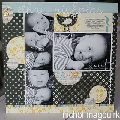 love1 Scrapbook Layout, Nichols Layout, Nichols Magouirk, Boys, Black Layout, A Scrap Layout, Baby Layout, Baby Scrapbook, Scrapbook Baby