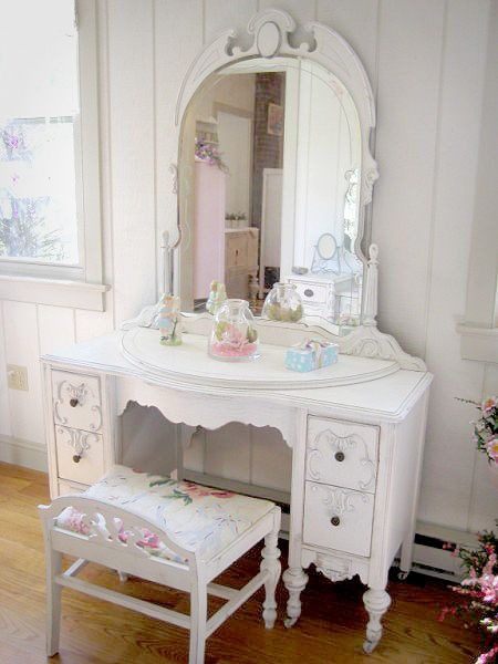 Boudoir:  Shabby Chic #Vanity with Mirror and #Chair.