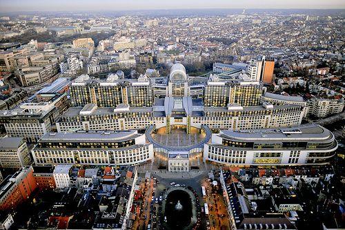 European Parliament Headquarters in Brussels  Aerial view buildings Brussels, PHS