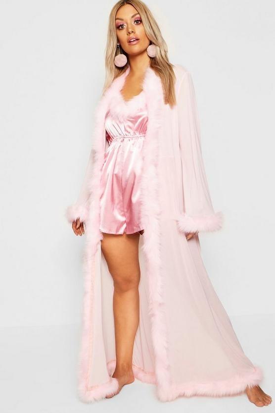 415a07460849 Plus Gemma Collins Kimono Robe With Fluffy Trim in 2019 | boohoo ...