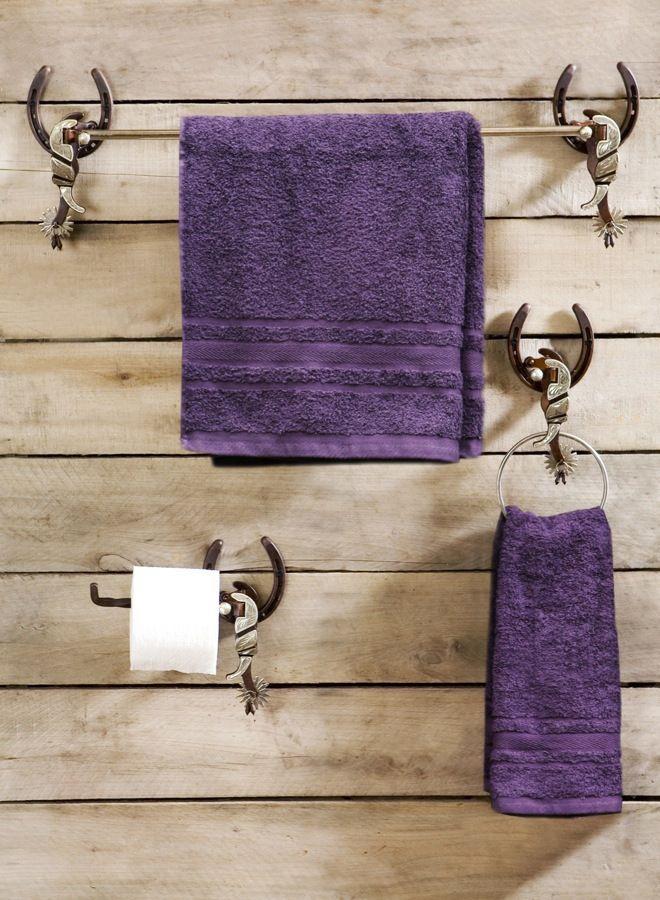 Horseshoes Amp Spurs Western Bath Towel Bars 3 Pc Set