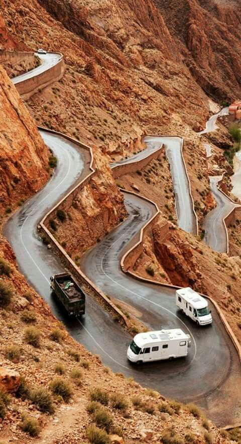 Dades valley in Morocco. Beautiful place, especially this mountain road. This is the road from the movie 'To Catch A Thief' with Carey Grant and Grace Kelly.
