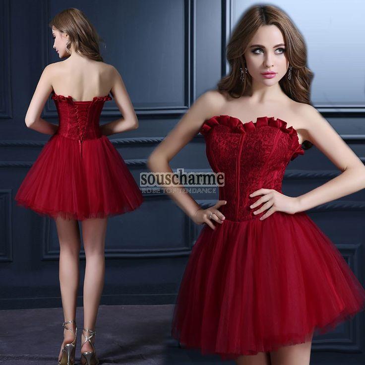 Robe de cocktail pas cher à bustier coeur corset en dentelle rouge avec jupe courte en tulle