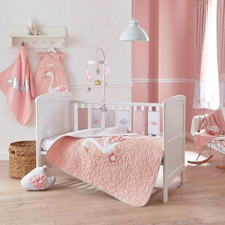 Dunelm Floral Blush Pink Swan Princess Pencil Pleat Blackout Curtains