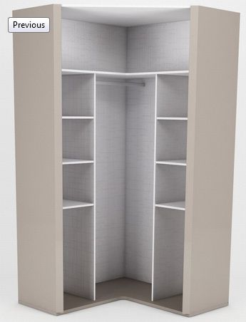 Armário Ambiente Malibu canto closet 2 portas abrir