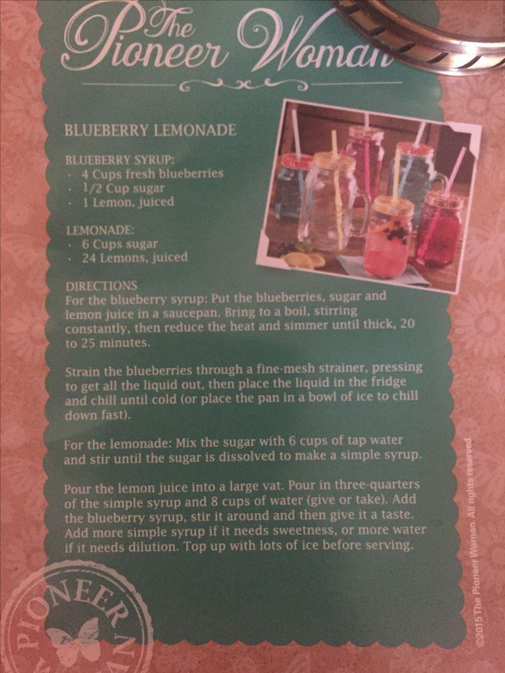 Pioneer Woman Blueberry Lemonade recipe
