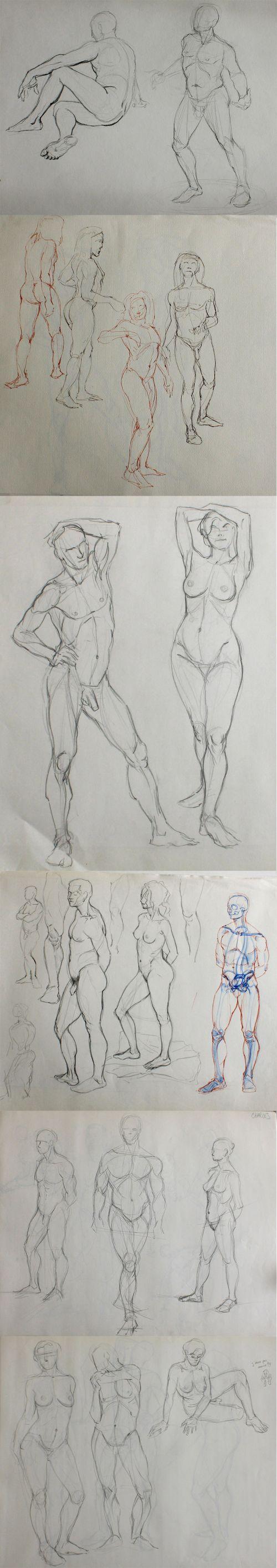 Croquis de modèles vivants : poses moyennes. Nude human sketch