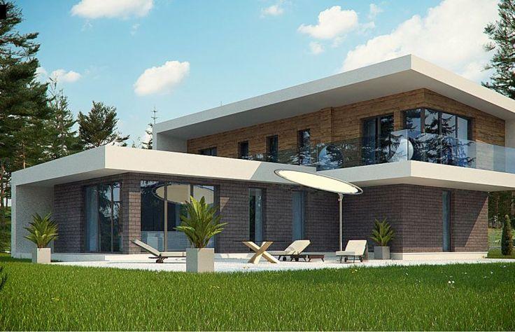 Projekt domu Zx70 to nowoczesny dom piętrowy. Największymi atutami są płaski dach, duże przeszklenia oraz możliwość zadaptowania powierzchni nad salonem na taras.Połączenie drewnianej i kamiennej elewacji to elegancka harmonizacja ciepła i zimna.