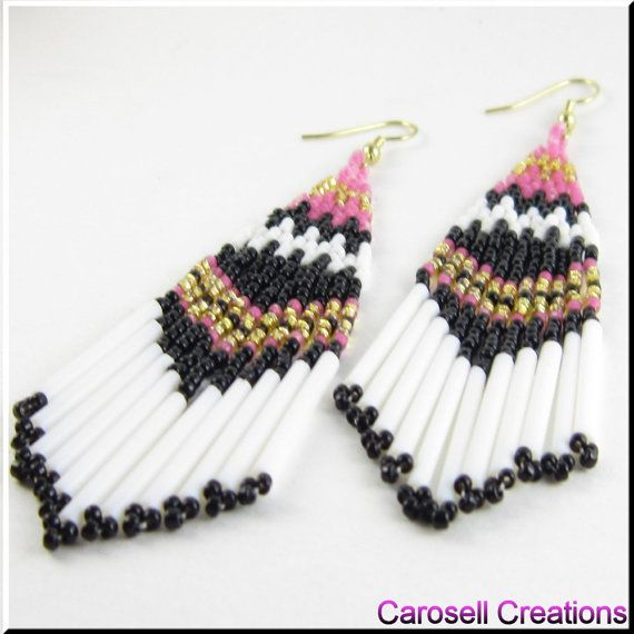 Beaded Earrings On The Border Southwest Native American Inspired TAGS - Jewelry, Earrings, Beaded, carosell creations, shoulder dusters, glass, seed beads, dangle, chandelier, on the border, pierced, accessories, black, pink, gold, white, bugle, country, holiday gift idea, rustic, arizona, urban, spring, traditional, ladies, boho, fashion, women, native american indian, southwestern #eCommerce