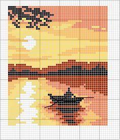 Schema punto croce Tramonto