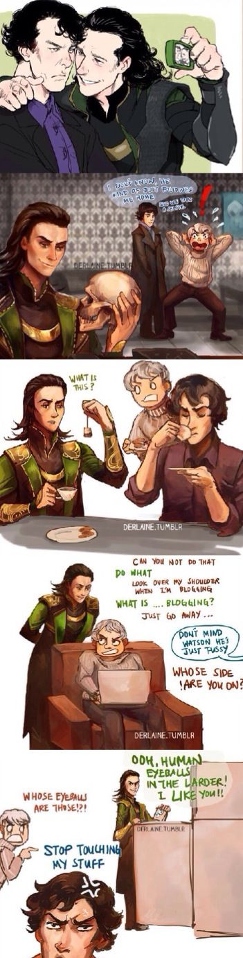 Loki meets Sherlock and Jawn>>> I want this to happen