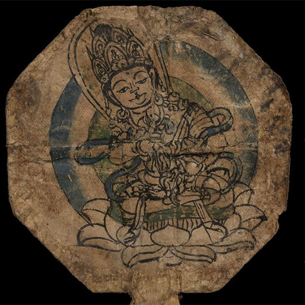 Ninth or tenth-century implement, possibly used for tantric empowerment ceremonies, with the buddha Vajrasattva. IOL Tib J 1364.