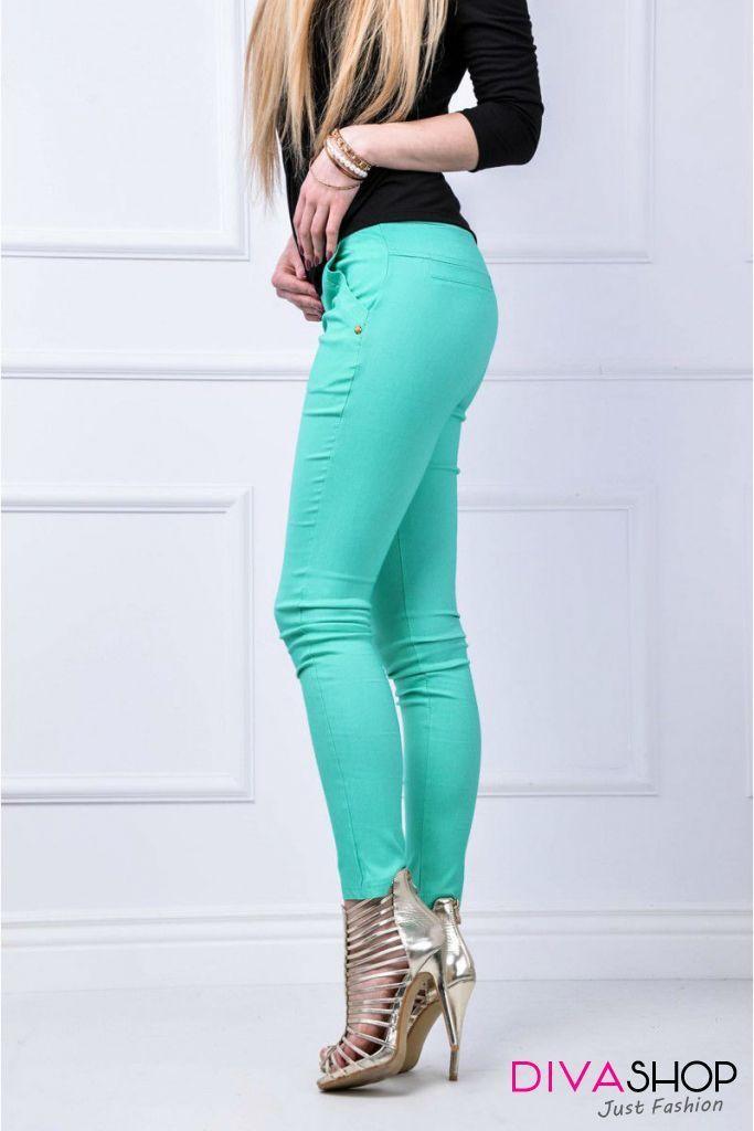 Pantaloni elastici Skinny cu buzunare