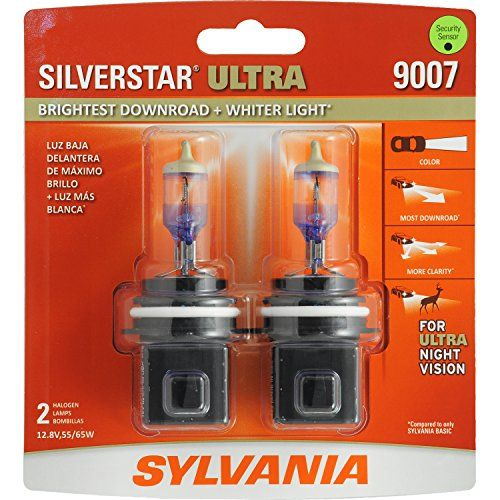 SYLVANIA 9007 SilverStar Ultra High Performance Halogen Headlight Bulb, (Contains 2 Bulbs) - The SYLVANIA SilverStar Ultra High Performance Headlight is our brightest downroad and whiter light. The combination of our farthest downroad, more sideroad, and whiter light helps the driver achieve more clarity helping to make night driving a less stressful, more comfortable experience. SYLVANI...