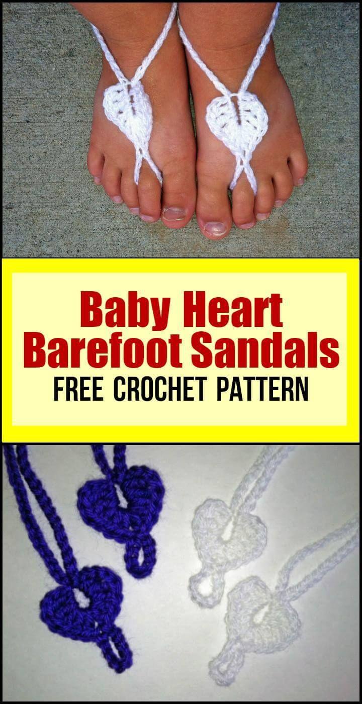 Baby Heart Barefoot Sandals Free Crochet Pattern In 2020 Crochet Barefoot Sandals Bare Foot Sandals Crochet Baby Barefoot Sandals