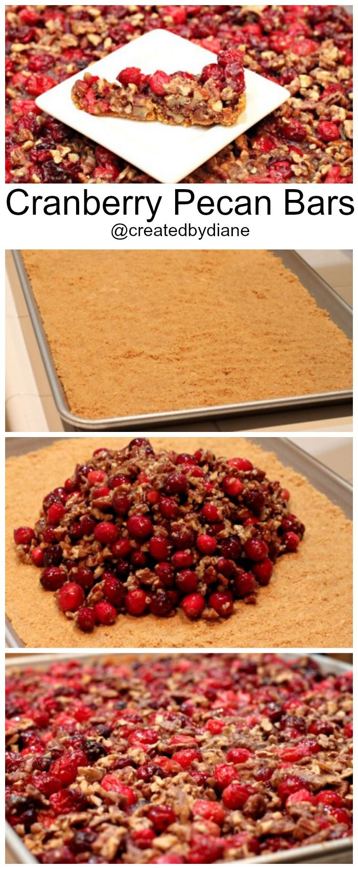 Cranberry Pecan Bars are easy to make and a perfect last minute treat around the holidays to make and bring to parties @creaedbydiane