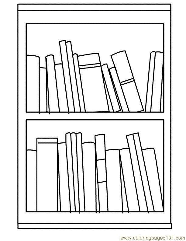 Bookcase Cartoon Black And White Coloring Pages Clipart Black And White Clip Art
