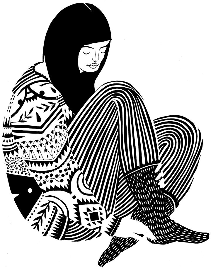 karolin schnoor: Karolinschnoor, Prints Patterns, Black Hair, Black And White, Black White, Patterns Illustrations, Karolin Schnoor, Line Art, Drawing