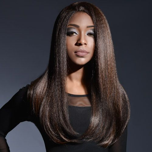 Outre Synthetic Lace Front L Part Batik Bundle Hair Dominican Blowout Straight