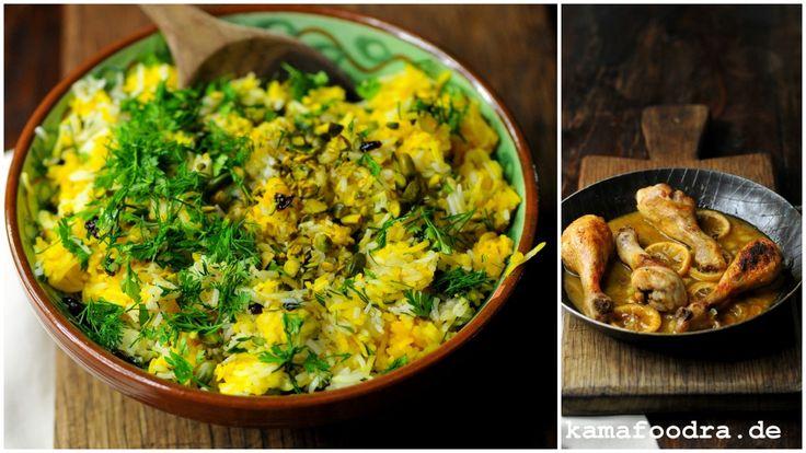 Persischer Kräuter-Safran-Pistazien-Reis mit Berberitzen und Zitronen-Knoblauchhuhn. von Kamafoodra.