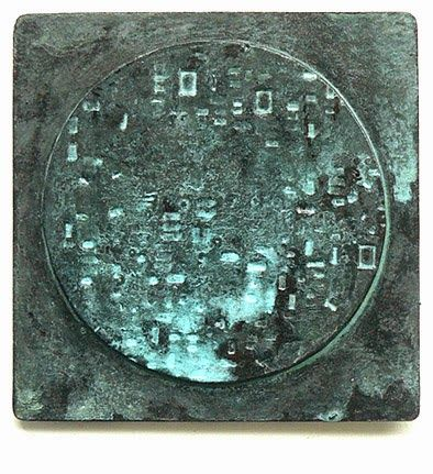 Raemon's artwords: 6. Impressed image with Verdigris patina