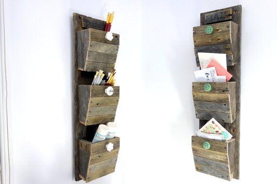 Organizador de correo personalizado - colgante de pared de madera recuperada entrada organizador - va el verde - clasificador de…