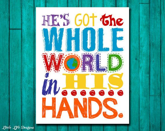 He's Got The Whole World In His Hands. Nursery Decor. Kids