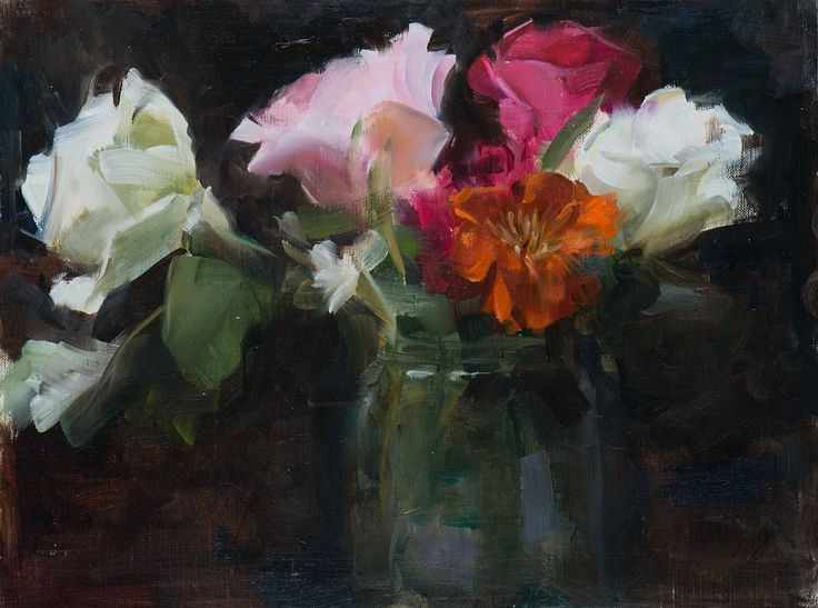 'Roses Alla Prima', oil on canvas panel painting, by artist Trish Ann Mitchell