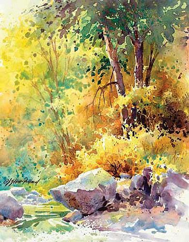Sunny forest watercolors