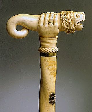 Walking stick made from a narwhal tusk. Belonged to Princess Yusupov. Late 18th - early 19th century.   Russia, St Petersburg. This stick, made of a highly unusual twisted narwhal tusk, has a carved ivory handle attached by a metal ferrule. The handle takes the form of a man's hand wearing a wedding ring and squeezing a fantastic creature with the head of a lion. The upper part of the stick is stamped with the maker's mark: CRAMER, ST PETERSBURG.Princesses Yusupov, St Petersburg Russia, Folk Art, 19Th Century, Narwhals Tusk, Walks Sticks, Late 18Th, Early 19Th, Walking Sticks