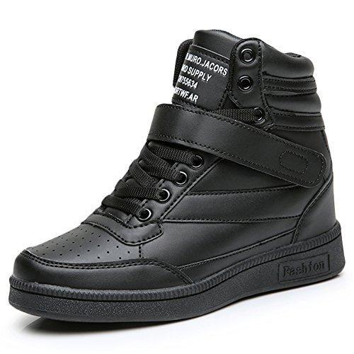 Oferta: 30.99€. Comprar Ofertas de Sollomensi Zapatillas de Cuña para Mujer Alta Deportivos Zapatos del Elevador Talón Plataforma 7 CM Negro 36 EU barato. ¡Mira las ofertas!