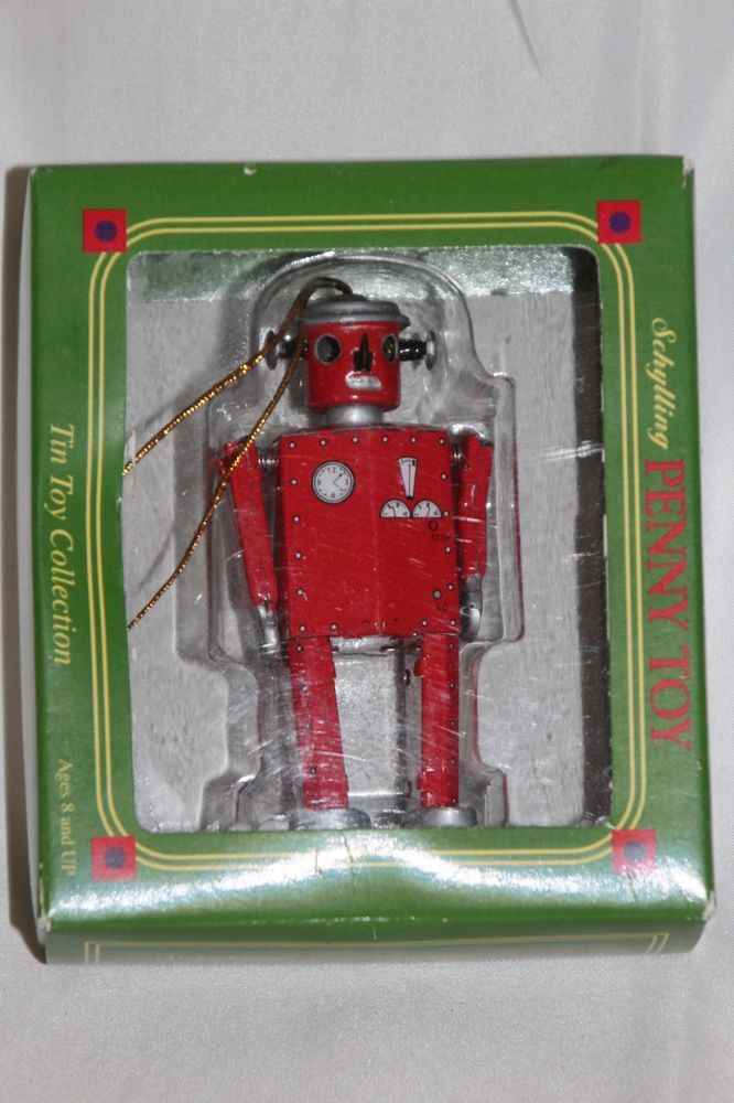 """Schylling Mini Robot Tin Toy Ornament Christmas 3 1/2"""" Penny Toy Red Vintage  #Schylling"""