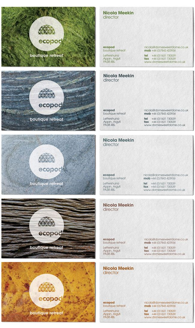 Ecopod business cards. Contributed by Christian Eager, partner and designer at London-based Designers Anonymous. Ecopod is a luxury eco-friendly holiday retreat in the Scottish Highlands. The brand identity focused on the high quality of the experience, avoiding the clichés that go hand-in-hand with all things 'eco'.