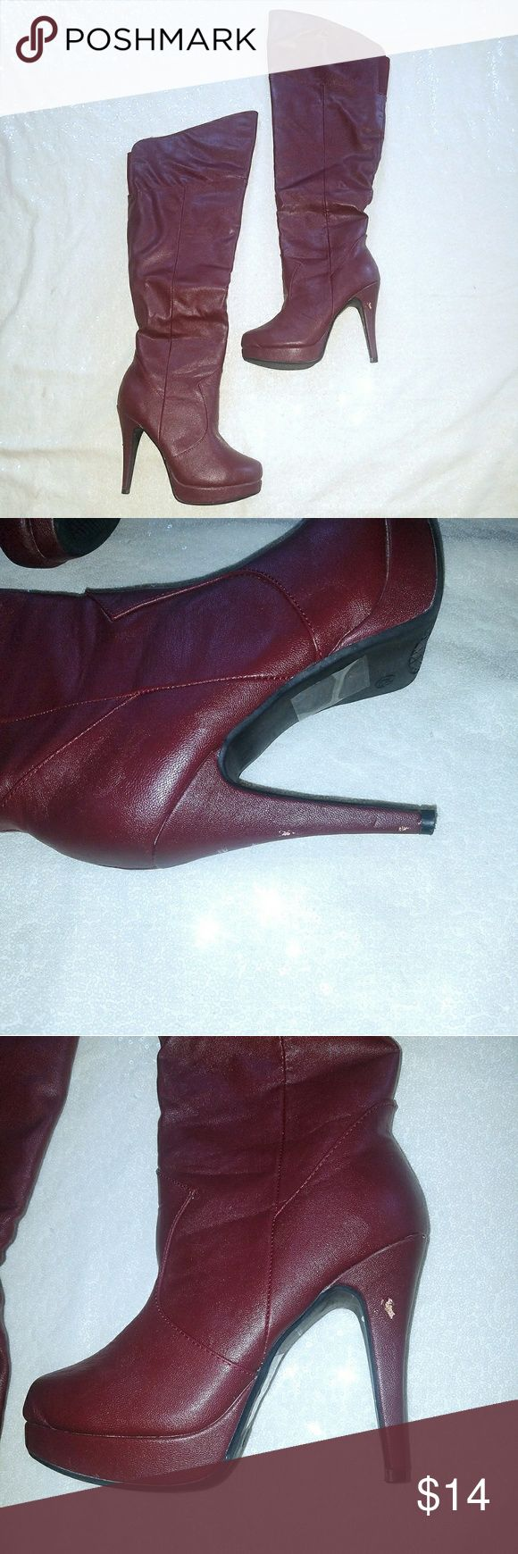 """🆕Merlot, over the knee boots, 4"""" heel Statement style! Over the knee boots in merlot. High 4"""" heel. Slight scuffs in the leather -see photos.  Box included. Other than scuffs the boots are in excellent condition. Shoe Dazzle Shoes Over the Knee Boots"""