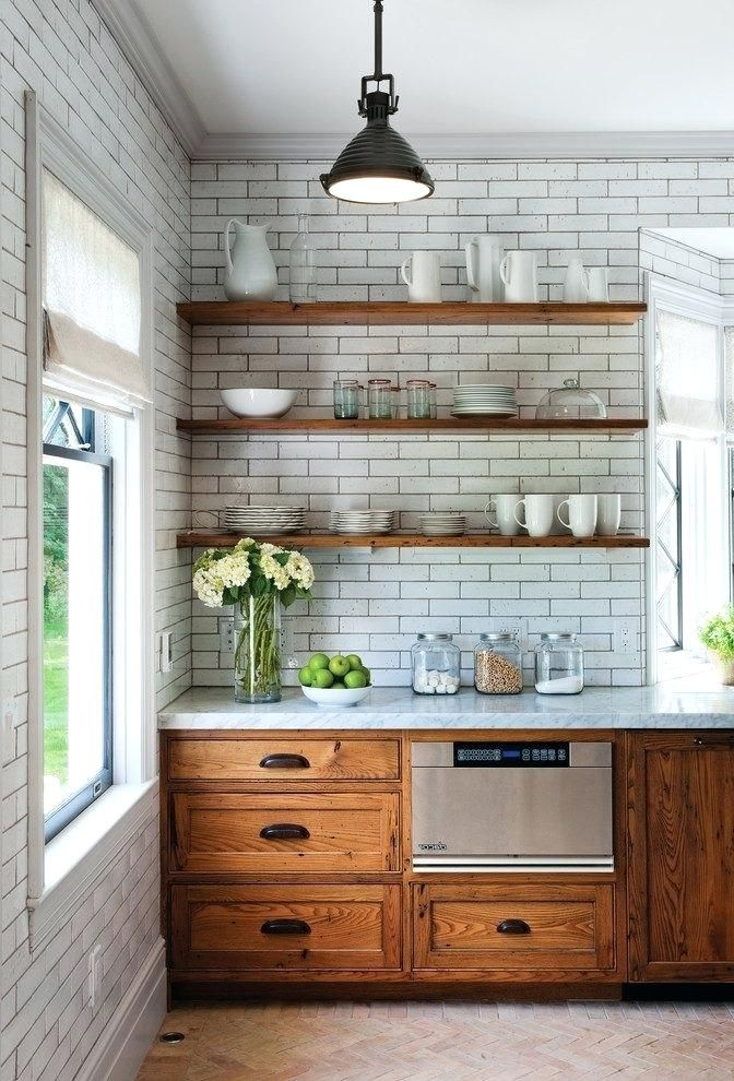 Rustic Industrial Kitchen Cabinets Marble Floating Shelves With Roman Shade Glass Jars Pendant