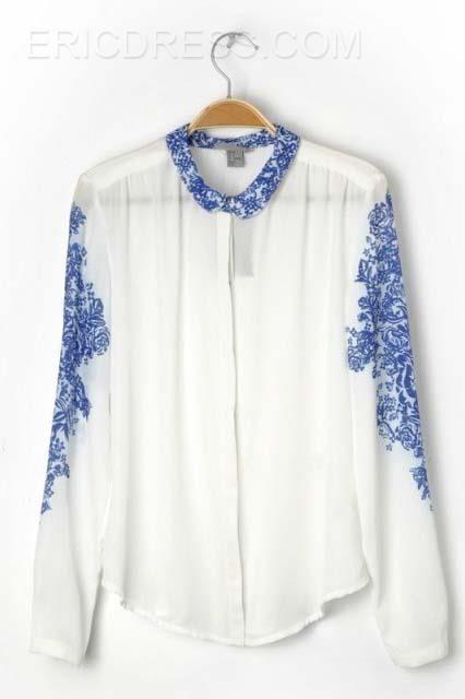 Floral Print Long Sleeve  Shirt  Blouses