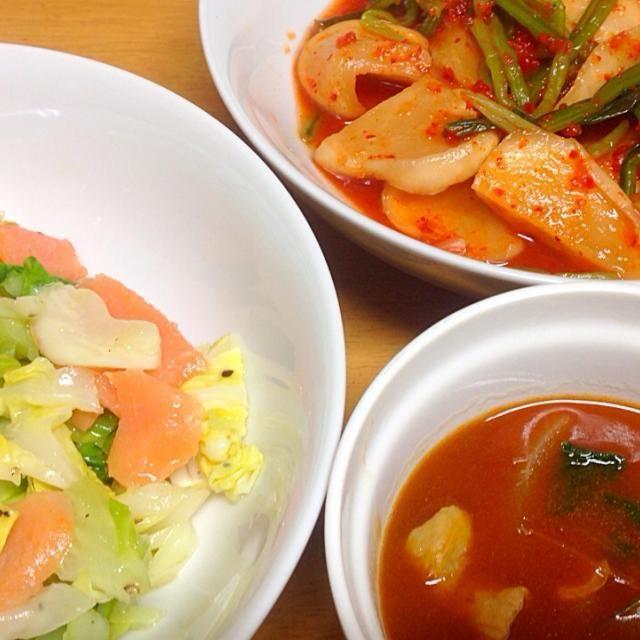 ⚫︎蕪キムチ ⚫︎スモークサーモン、きゃべつのキウイソースドレッシングサラダ ⚫︎もつ、小松菜、玉葱のハッシュドビーフ風シチュー - 5件のもぐもぐ - 2014.05.19 by amagishinjyu