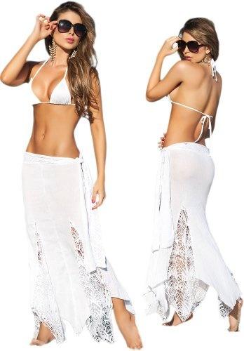 Sexy White Lace Long Beach Skirt | Beach weddings | Pinterest ...