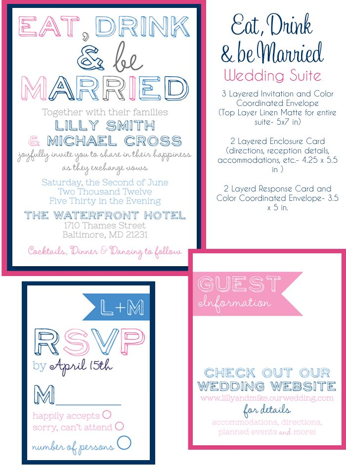 eat drink and be married wedding invitations, navy and pink wedding invites, modern wedding invites, affordable wedding invitations from Party Box Design