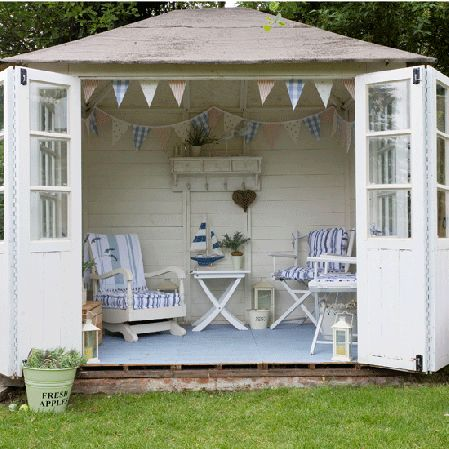 garden room- Back Yard Escape- I have had this dream for several years, but no way to do the job. When he offered to get me a plastic shed... that ended our quest for the perfect outdoor room!