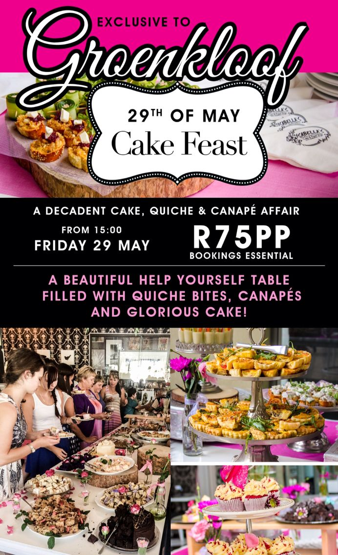 Oh! How exciting!  Our fabulous Cake, Quiche and Canape feast takes place at the stunning Isabella's in Groenkloof on the 29th of May.    Bookings are essential: groenkloof@isabellas.co.za  We can't wait to see you!  #weloveisabellas #groenkloof #cake #quiche #canape #feast